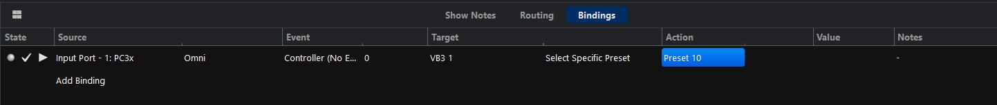 Controller binding preset